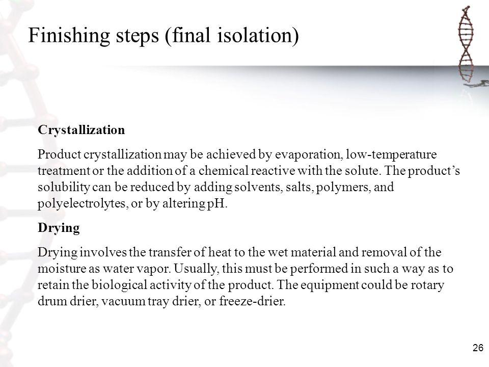 Finishing steps (final isolation)