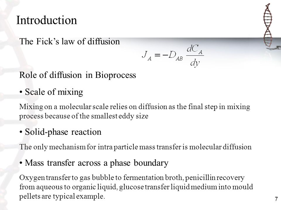 Introduction The Fick's law of diffusion