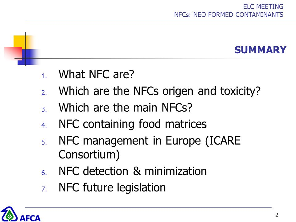 Which are the NFCs origen and toxicity Which are the main NFCs