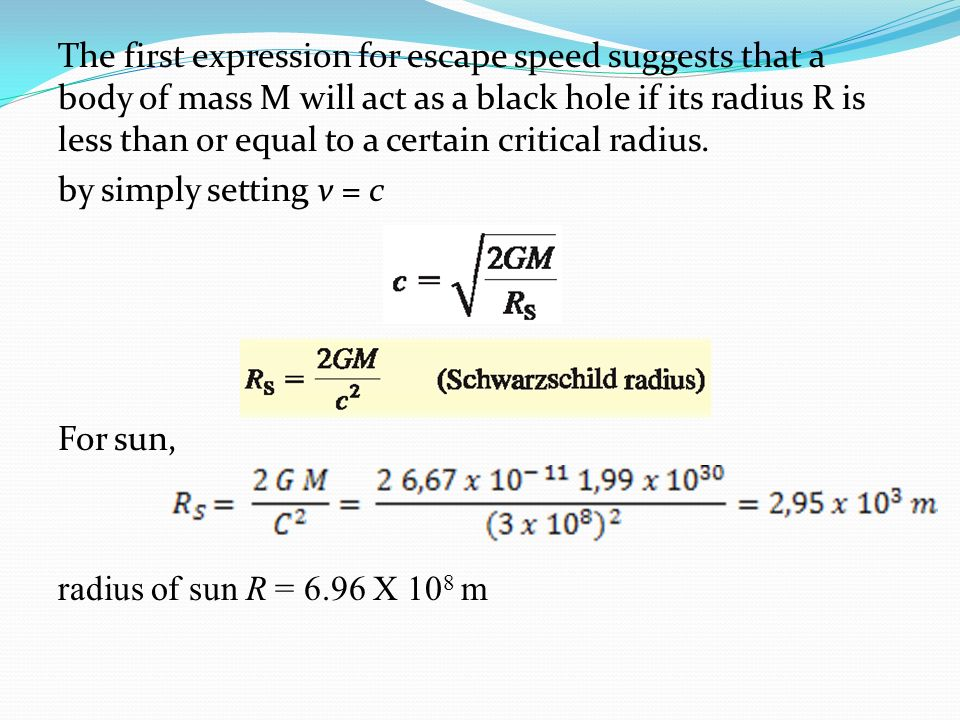 The first expression for escape speed suggests that a body of mass M will act as a black hole if its radius R is less than or equal to a certain critical radius.