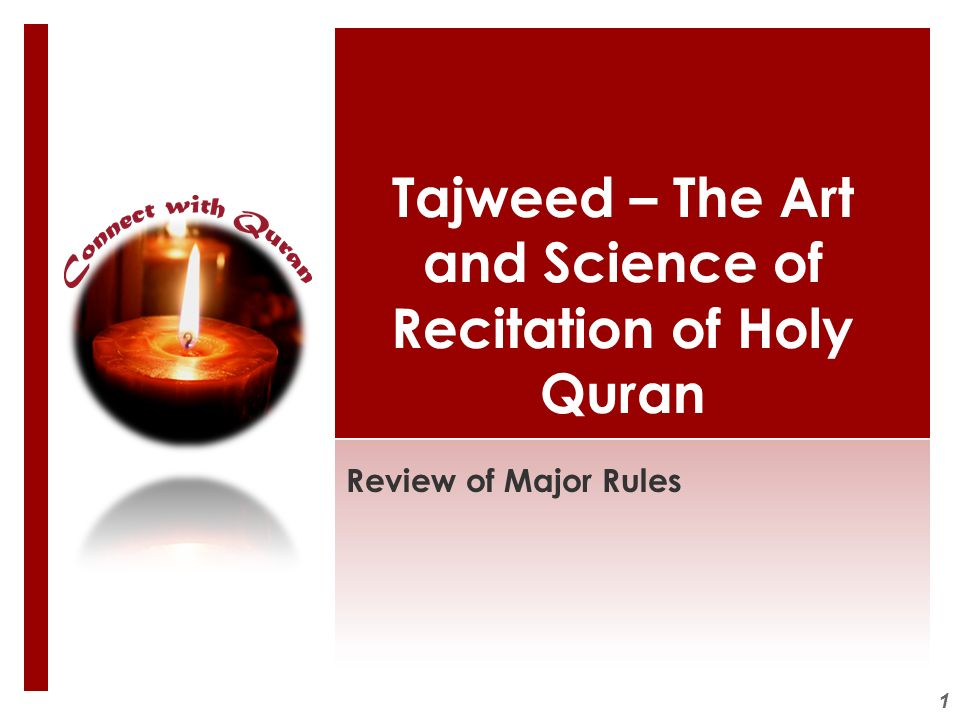 Tajweed – The Art and Science of Recitation of Holy Quran