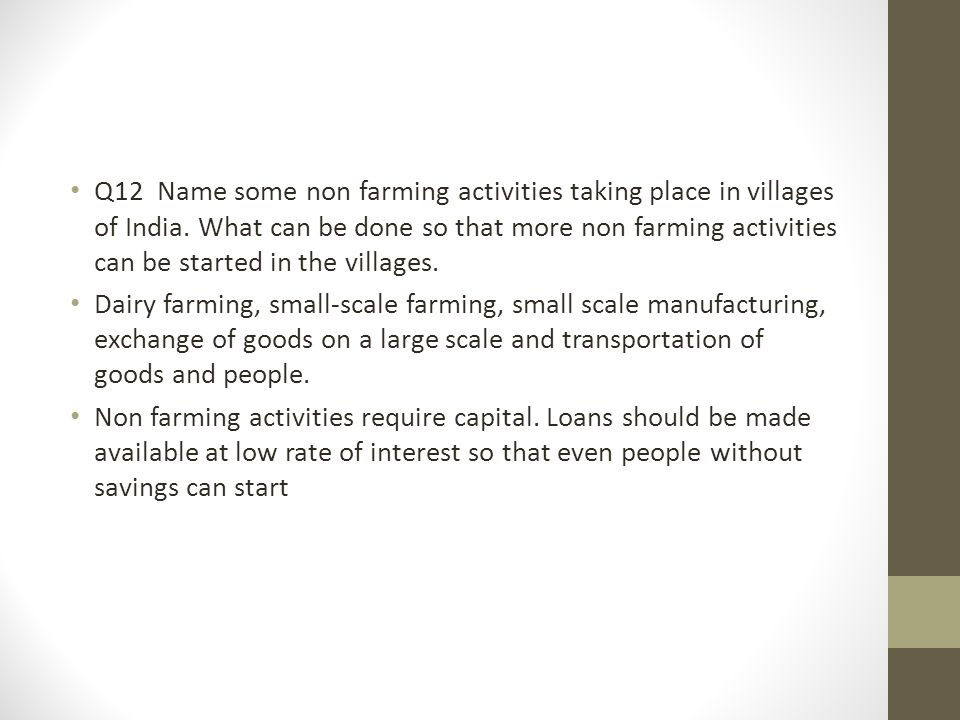 Q12 Name some non farming activities taking place in villages of India