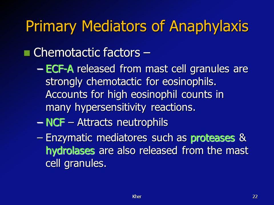 Primary Mediators of Anaphylaxis