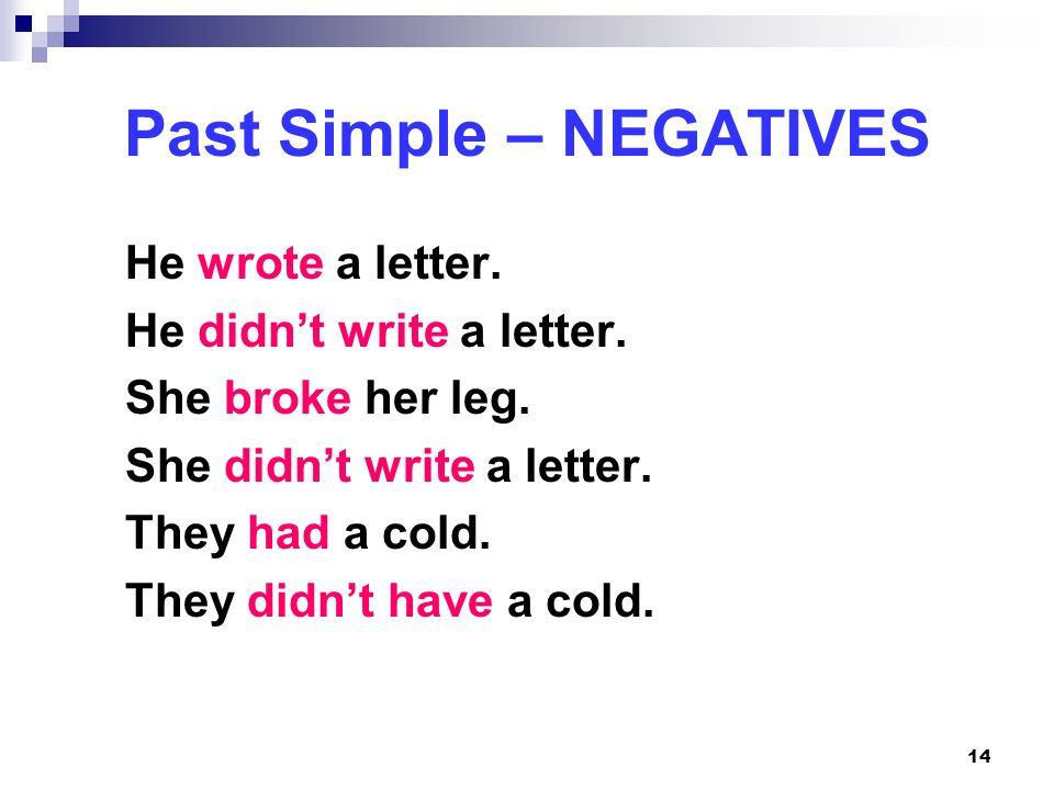 Past Simple – NEGATIVES