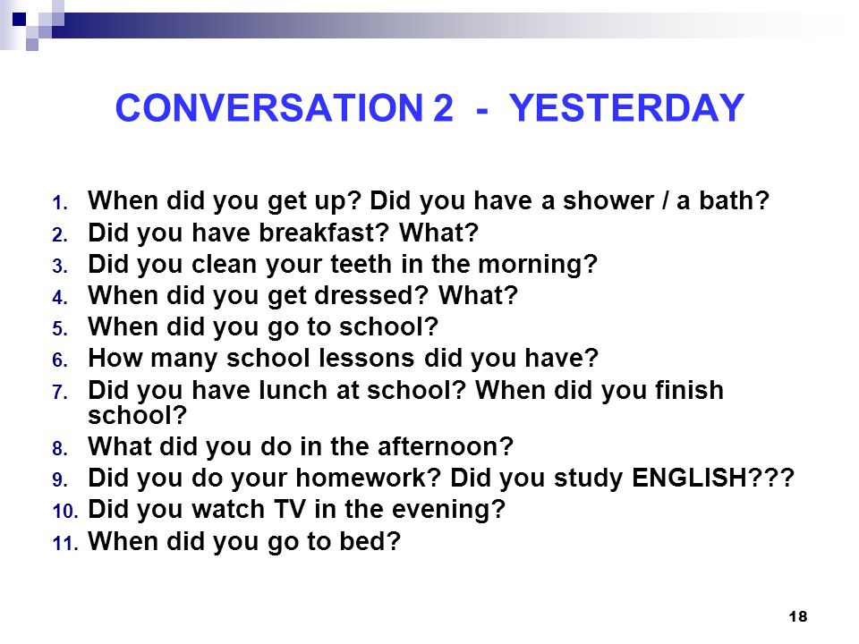 CONVERSATION 2 - YESTERDAY