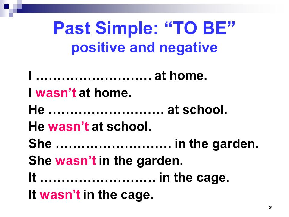 Past Simple: TO BE positive and negative