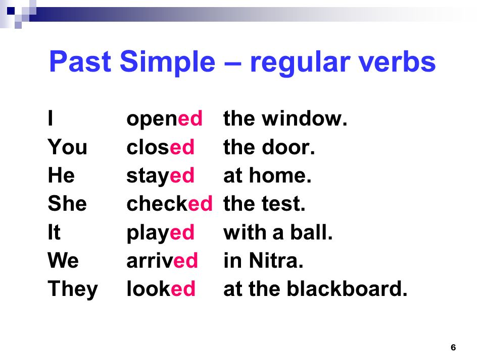 Past Simple – regular verbs