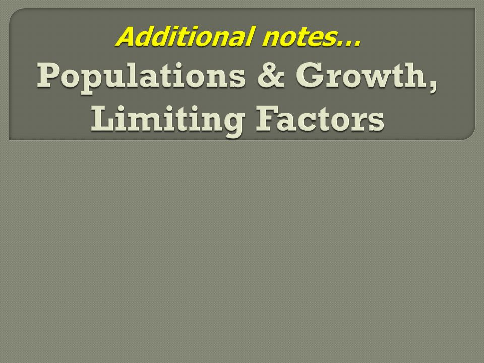 Additional notes… Populations & Growth, Limiting Factors