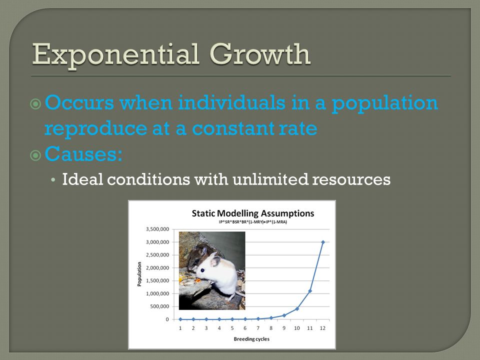 Exponential Growth Occurs when individuals in a population reproduce at a constant rate.