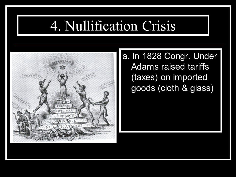 4. Nullification Crisis a. In 1828 Congr.