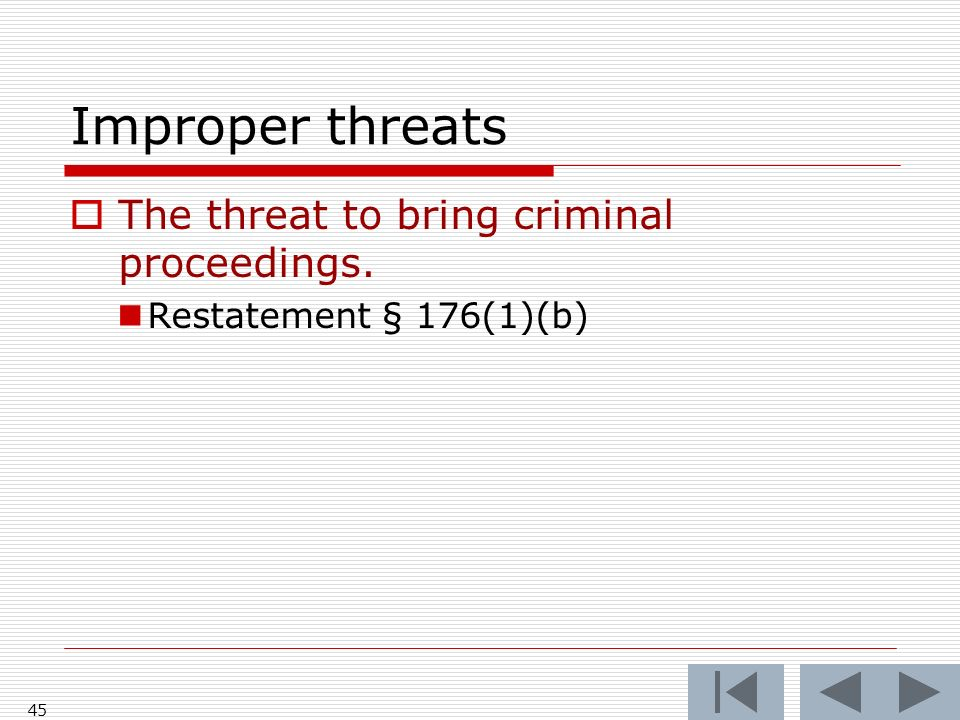 Improper threats The threat to bring criminal proceedings.