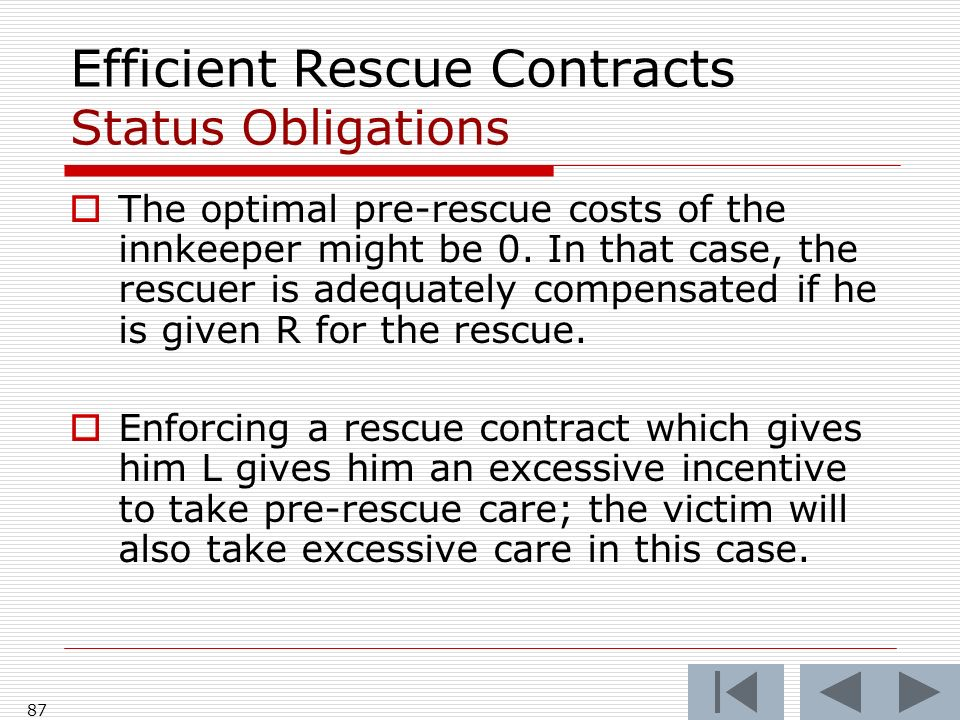 Efficient Rescue Contracts Status Obligations