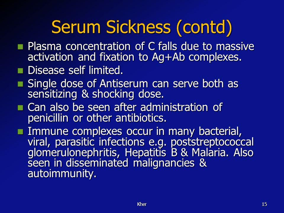 Serum Sickness (contd)
