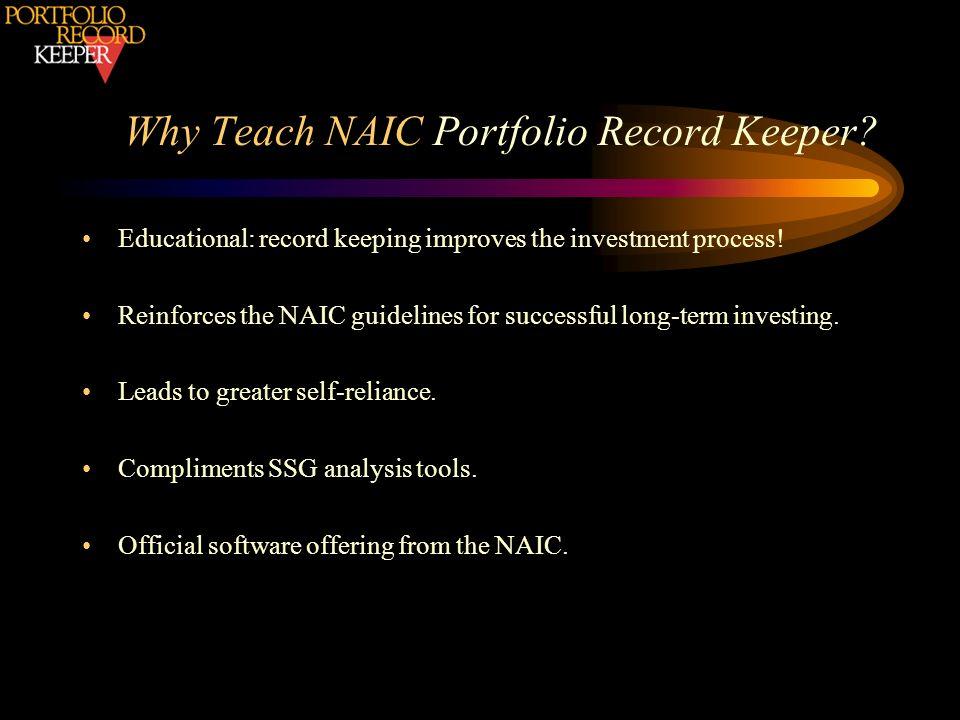 Why Teach NAIC Portfolio Record Keeper