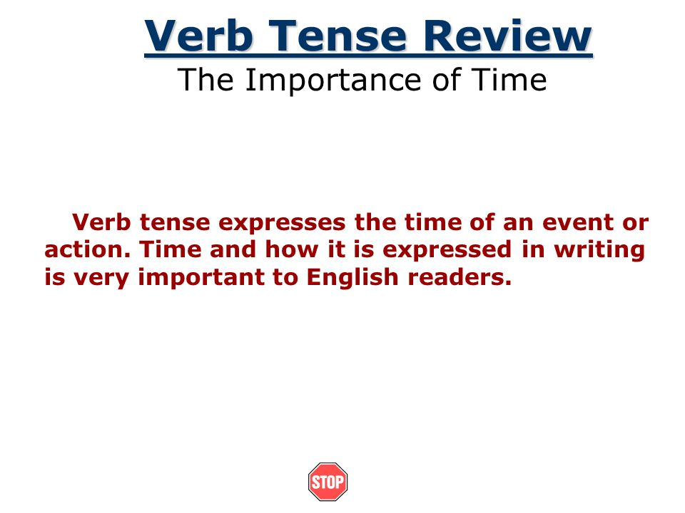 Verb Tense Review The Importance of Time