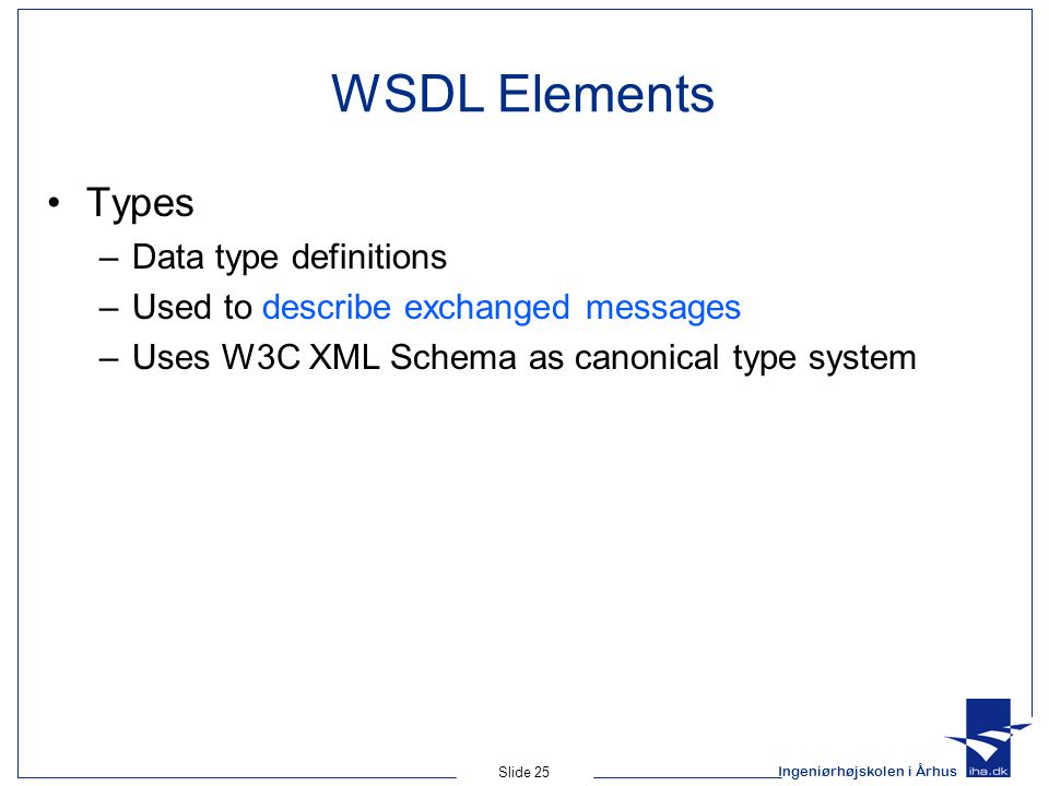 WSDL Elements Types Data type definitions