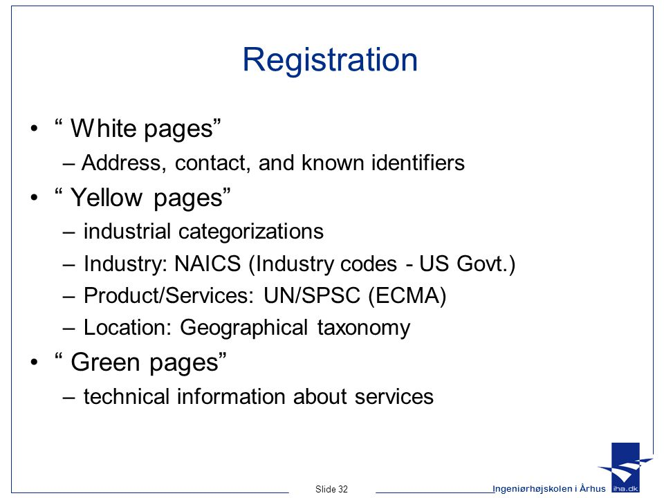 Registration White pages Yellow pages Green pages
