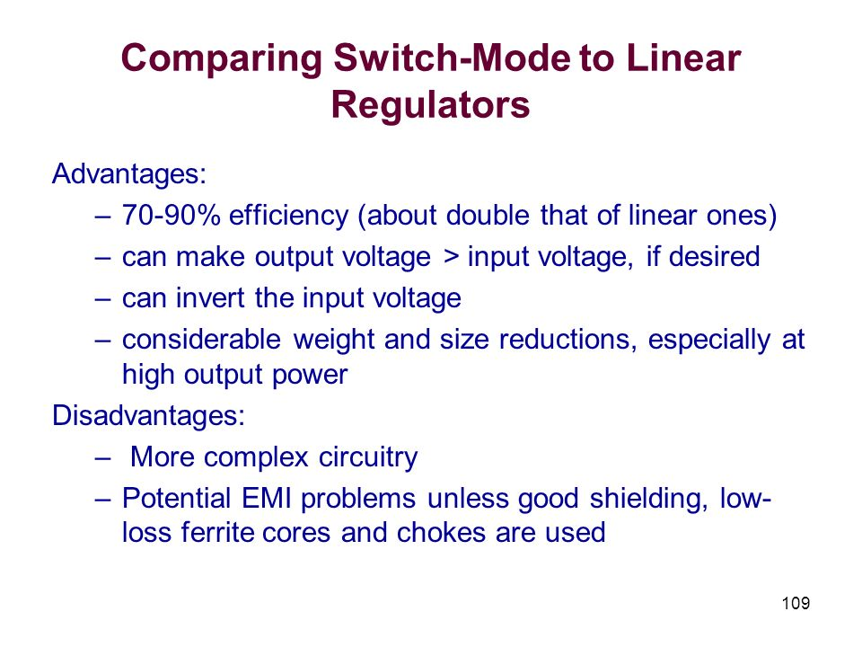 Comparing Switch-Mode to Linear Regulators