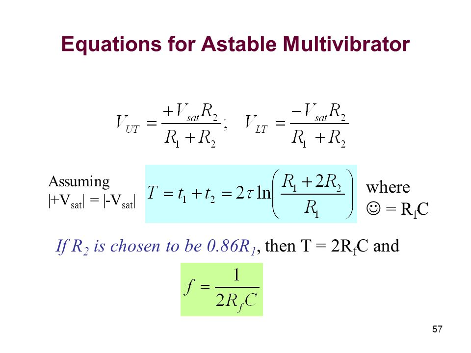 Equations for Astable Multivibrator
