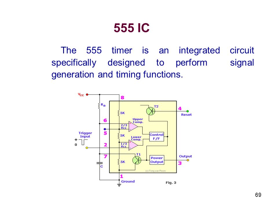 555 ICThe 555 timer is an integrated circuit specifically designed to perform signal generation and timing functions.