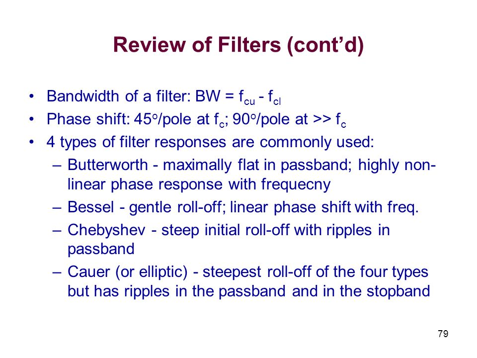 Review of Filters (cont'd)
