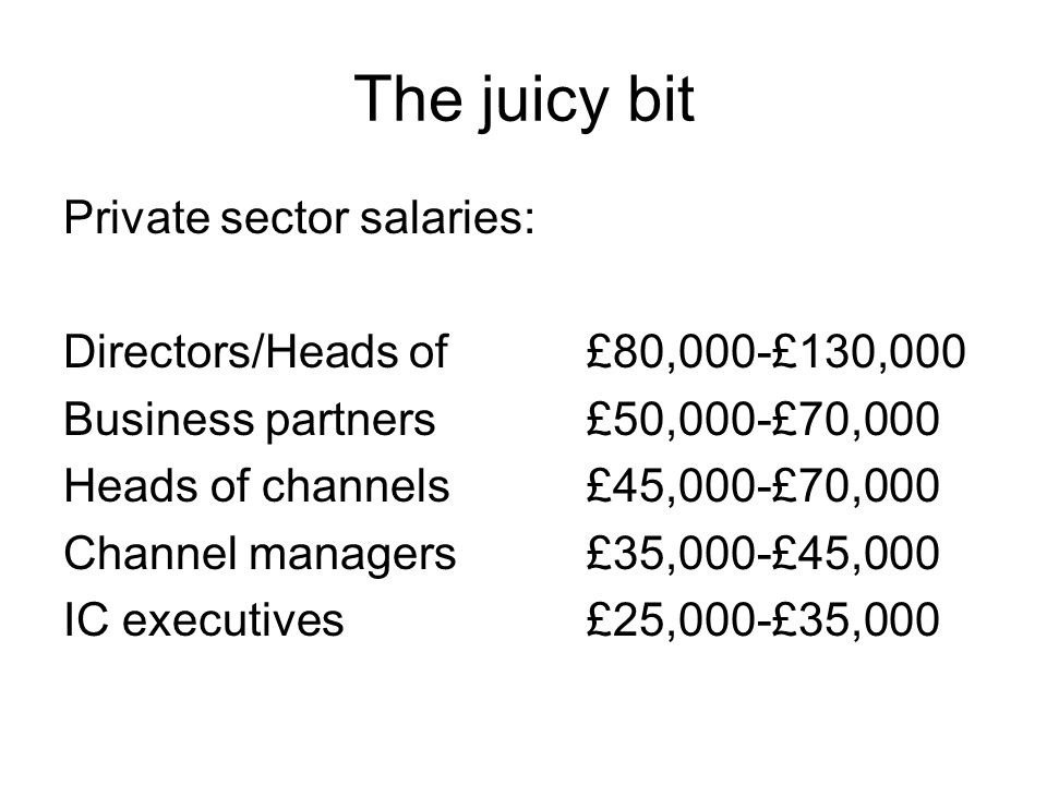 The juicy bit Private sector salaries: