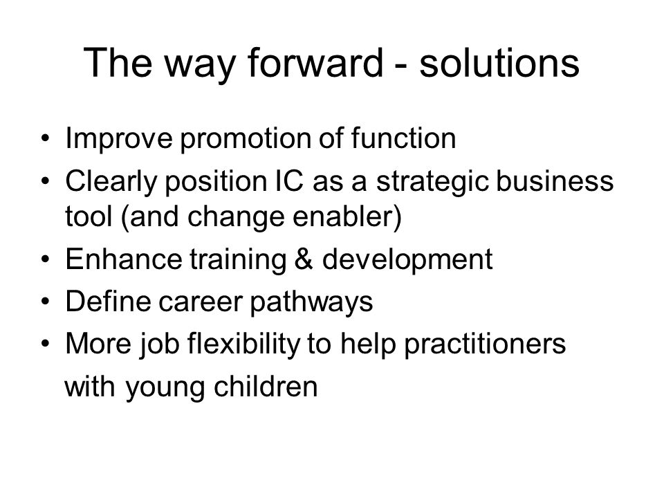 The way forward - solutions