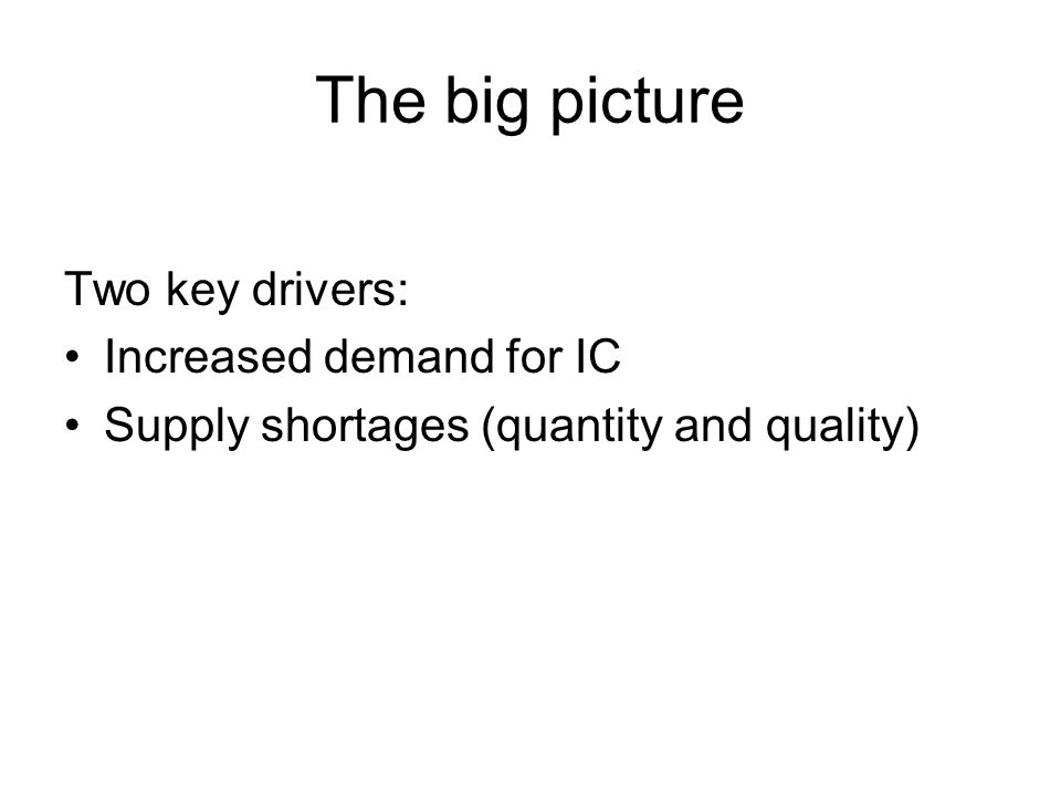 The big picture Two key drivers: Increased demand for IC