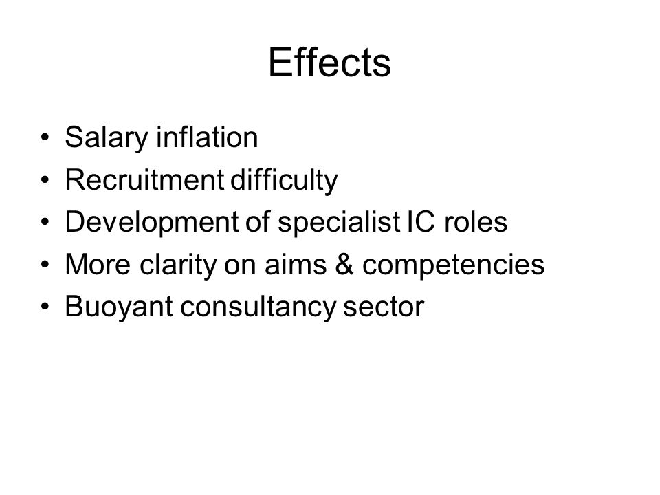 Effects Salary inflation Recruitment difficulty