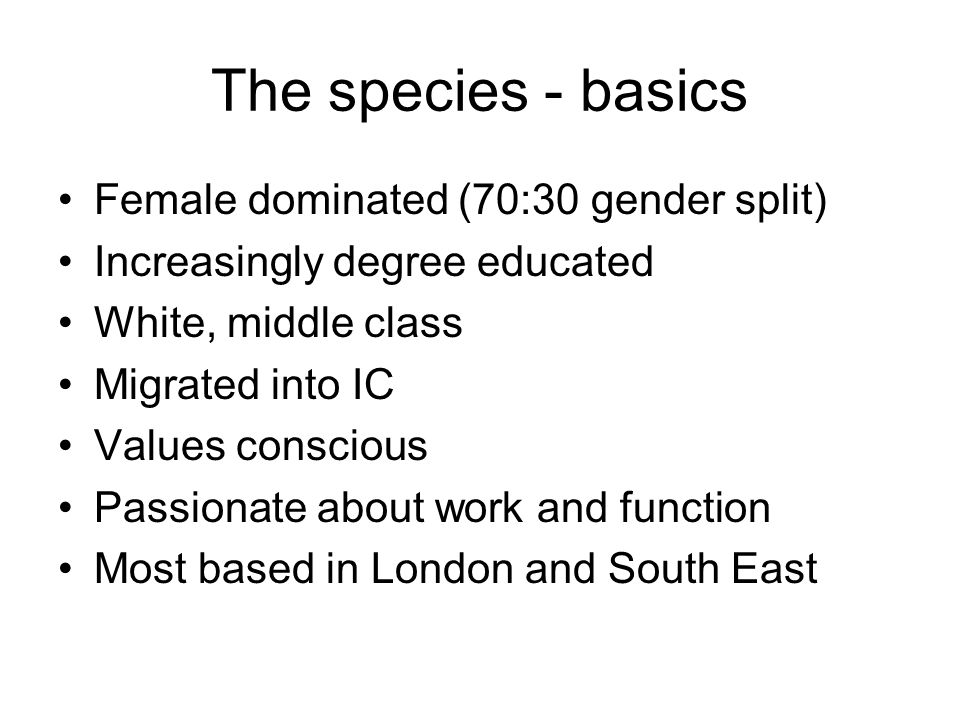 The species - basics Female dominated (70:30 gender split)