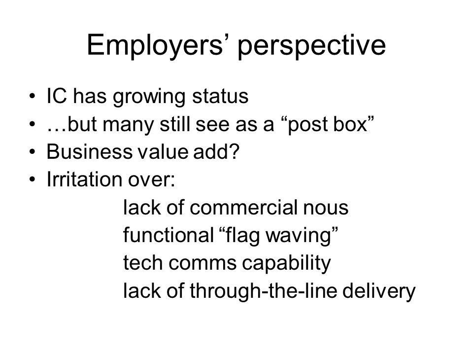 Employers' perspective