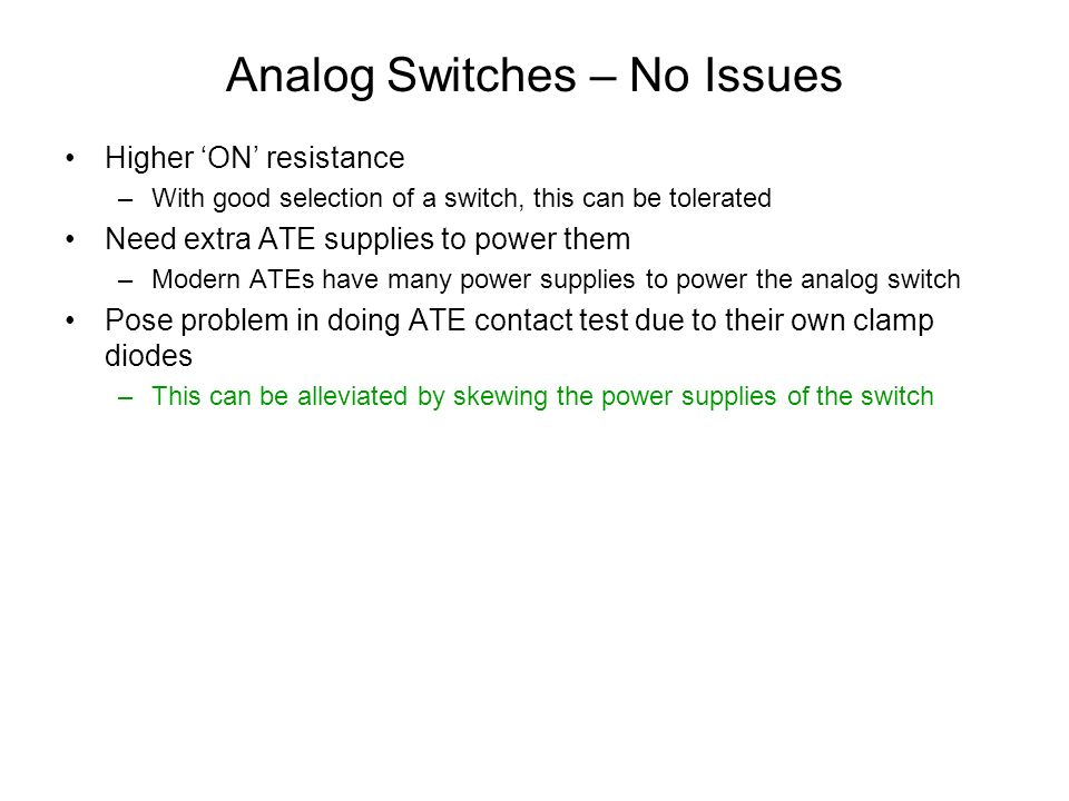 Analog Switches – No Issues