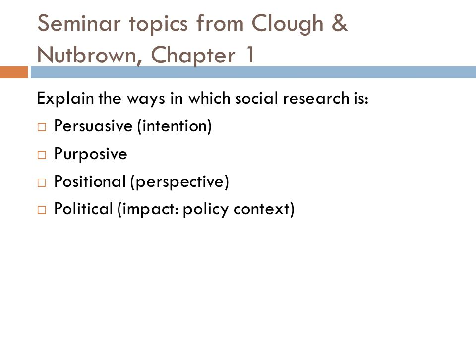Seminar topics from Clough & Nutbrown, Chapter 1
