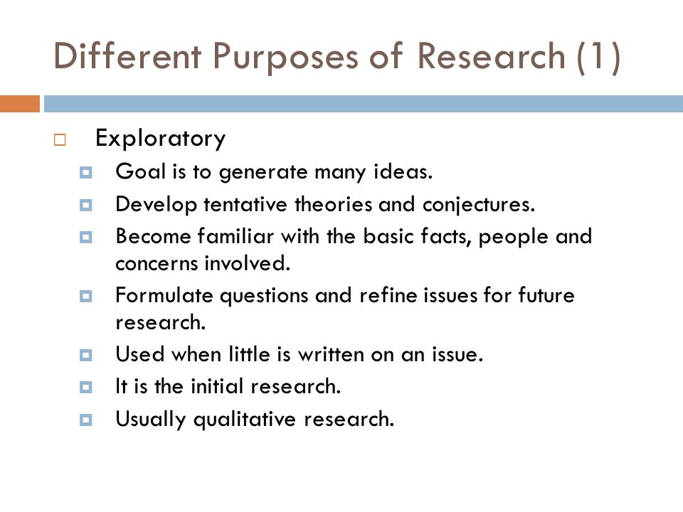 Different Purposes of Research (1)