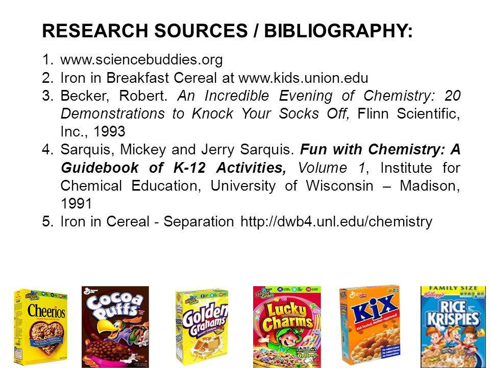 RESEARCH SOURCES / BIBLIOGRAPHY: