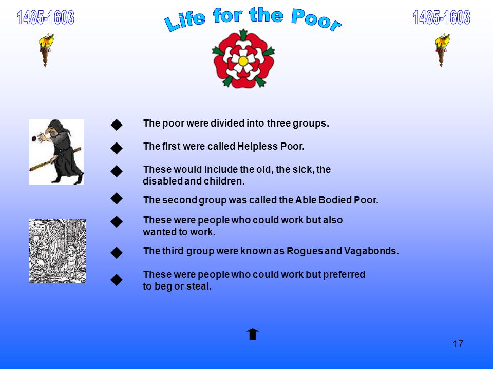1485-16031485-1603. Life for the Poor. The poor were divided into three groups. The first were called Helpless Poor.