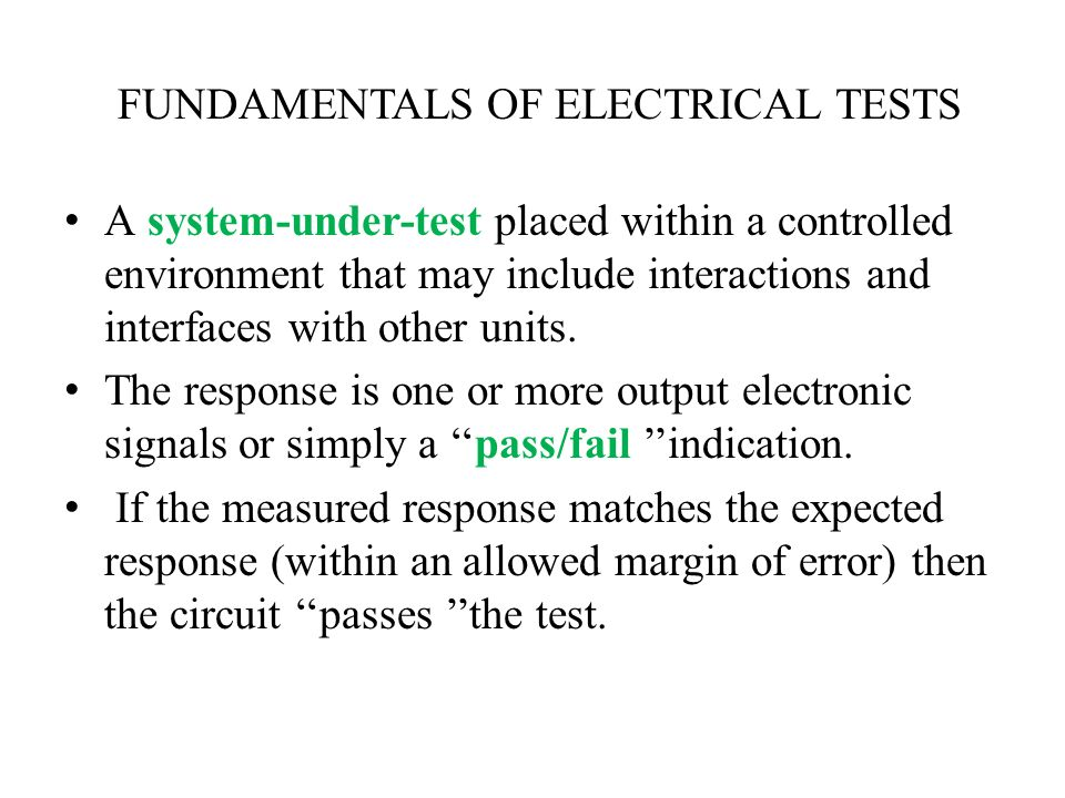 FUNDAMENTALS OF ELECTRICAL TESTS