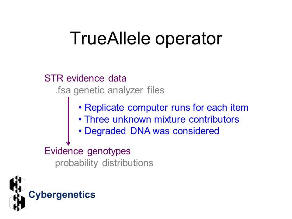 TrueAllele operator STR evidence data .fsa genetic analyzer files