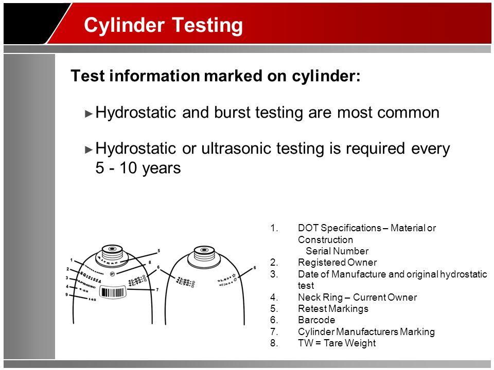 Cylinder Testing Test information marked on cylinder: