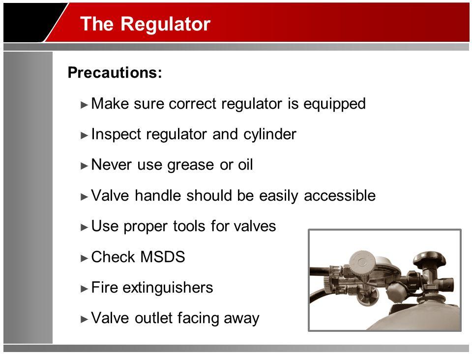 The Regulator Precautions: Make sure correct regulator is equipped