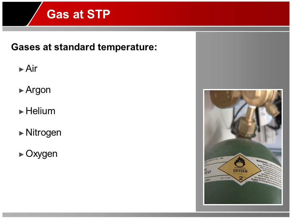 Gas at STP Gases at standard temperature: Air Argon Helium Nitrogen