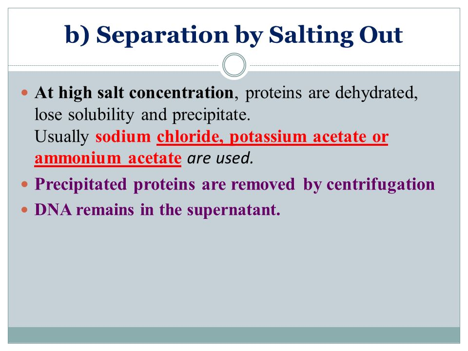 b) Separation by Salting Out
