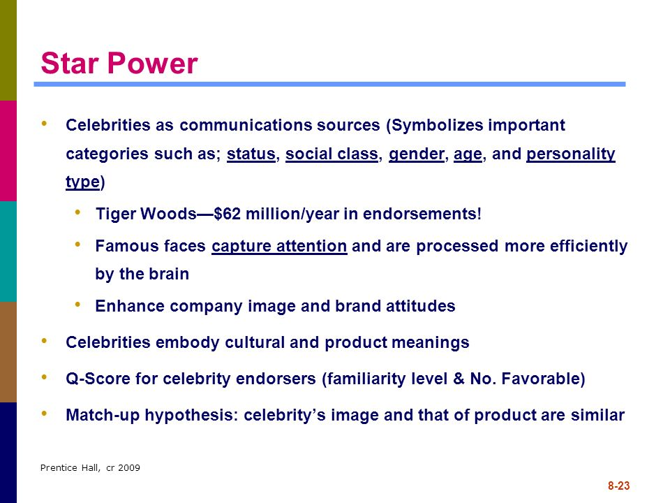 Star Power Celebrities as communications sources (Symbolizes important categories such as; status, social class, gender, age, and personality type)