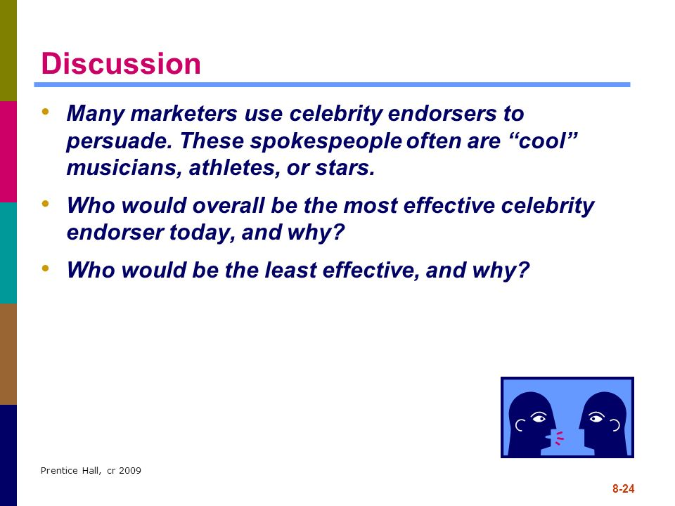 Discussion Many marketers use celebrity endorsers to persuade. These spokespeople often are cool musicians, athletes, or stars.