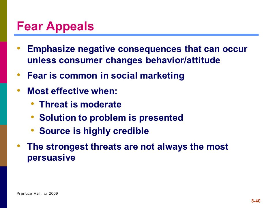 Fear Appeals Emphasize negative consequences that can occur unless consumer changes behavior/attitude.