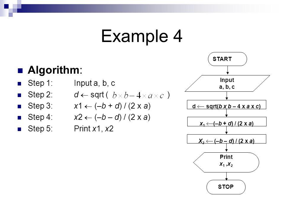 Example 4 Algorithm: Step 1: Input a, b, c Step 2: d  sqrt ( )