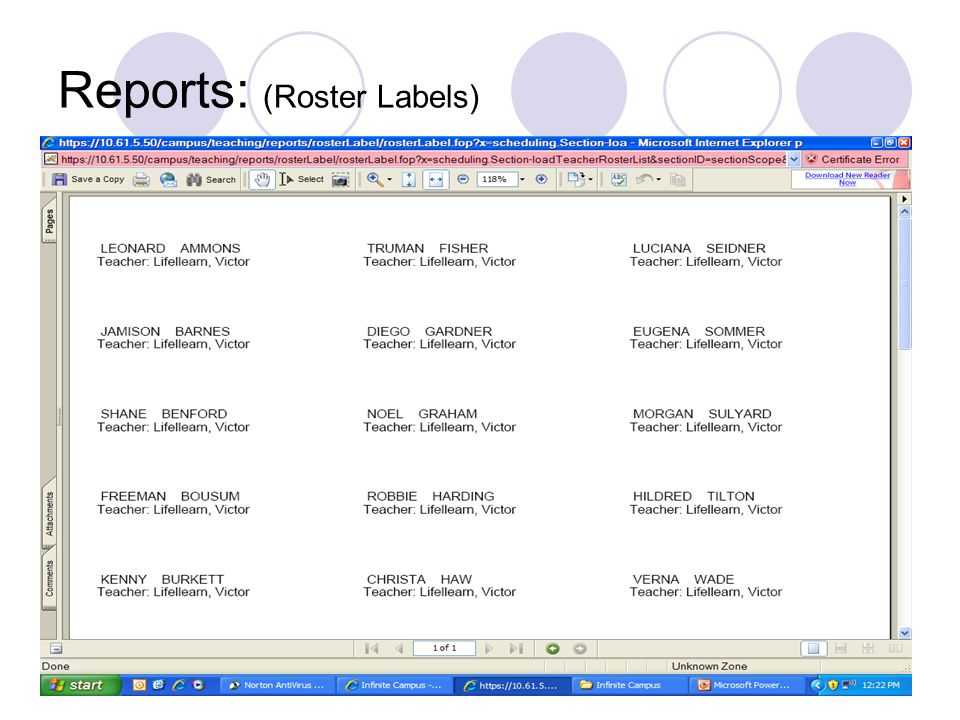 Reports: (Roster Labels)