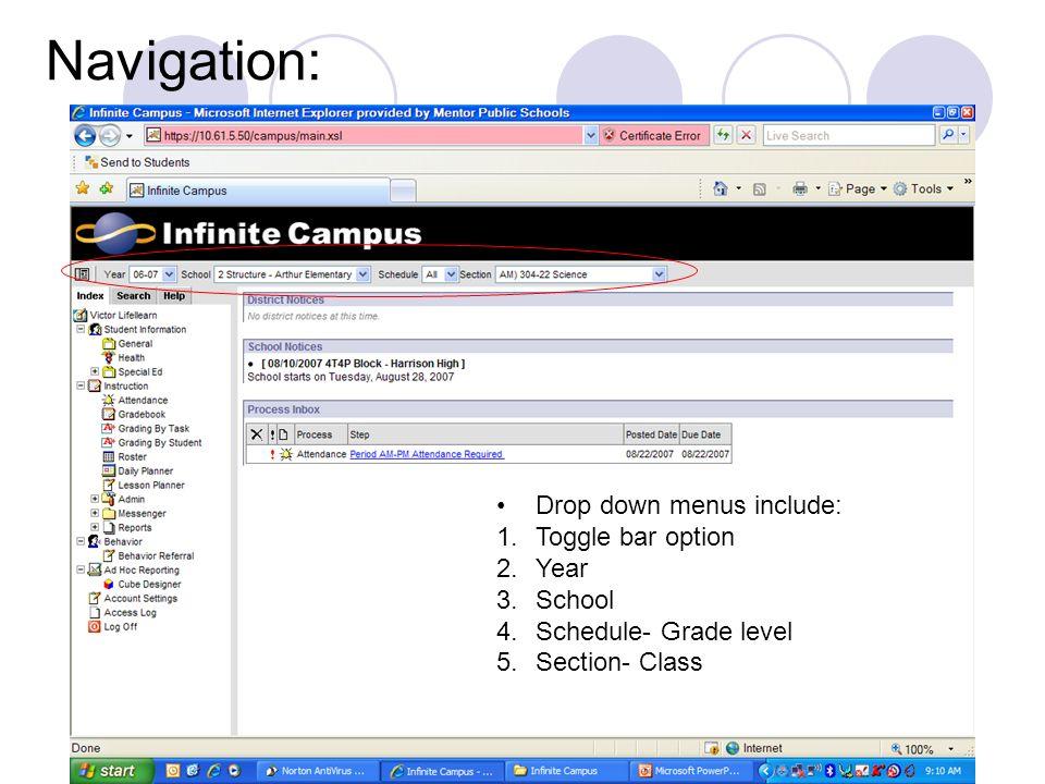 Navigation: Drop down menus include: Toggle bar option Year School