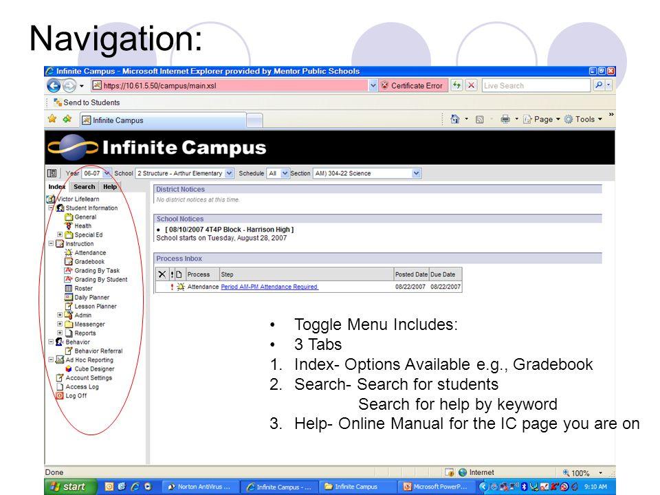 Navigation: Toggle Menu Includes: 3 Tabs
