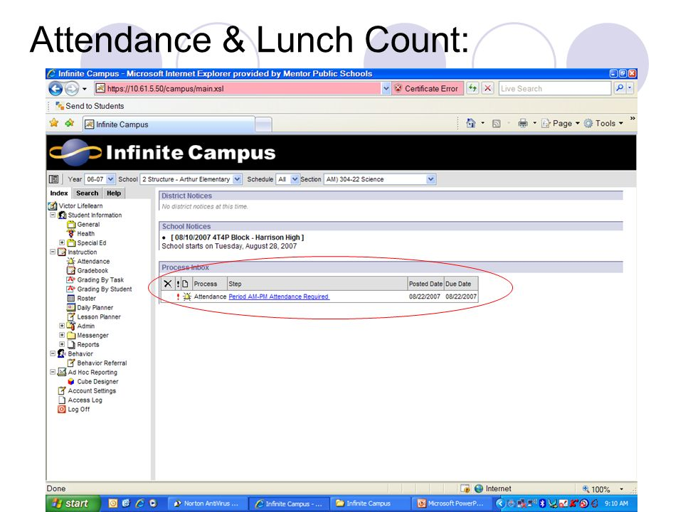 Attendance & Lunch Count: